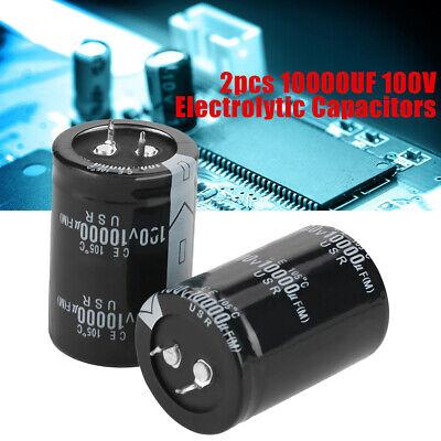 2pcs 10000uf 100v Electrolytic Capacitor 105 35x50mm Black