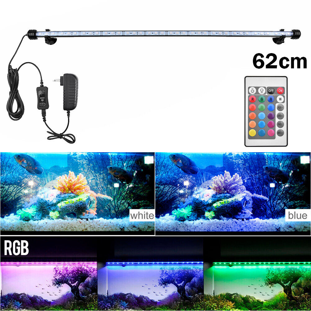 Aquarium Fish Tank RGB LED Light Submersible Waterproof Bar Strip Lamp Lighting 62cm(For 70-80cm Fish Tank)