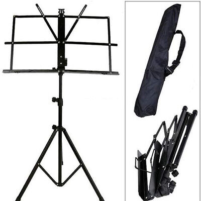 Adjustable Folding Sheet Music Stand Score Holder Mount Tripod Carrying Bag NEW