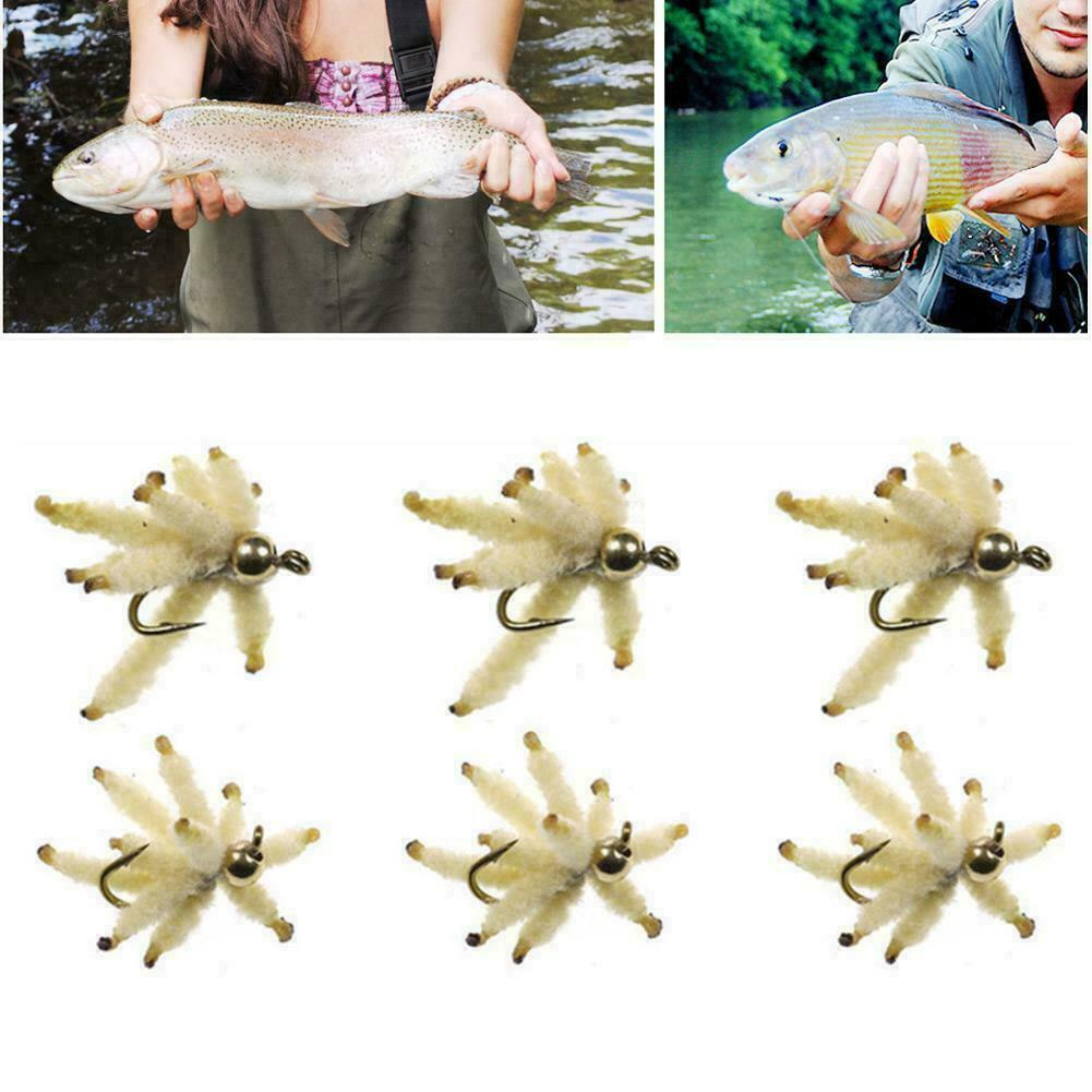 6Pcs Maggot Grayling Carp Trout Flies for Fly Fishing Best 14 16 18 B3H2 H7 X3H4