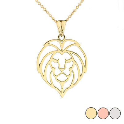 Solid Gold Lion Head Cut Out Pendant Necklace In ( Yellow/White/Rose ) Cut Out Rose Pendant
