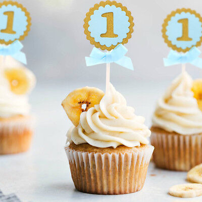 25pcs Baby Shower Cupcake Toppers 1st  Blue for Boy Birthday Party Cupcake Ideas - Baby First Birthday Ideas