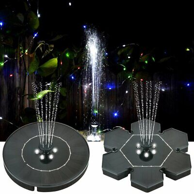 LED Solar Power Fountain Water Pump Floating for Garden Pond Pool Fish Bird -