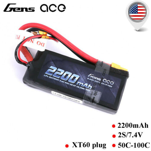 Gens ace 2200mAh 7.4V 2S 50C LiPo Battery Pack with Deans an