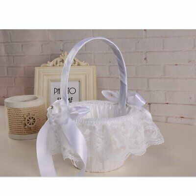 White Wedding Basket Satin Bowknot Rhinestone Lace Flower Girl Basket Decor](Wedding Baskets)