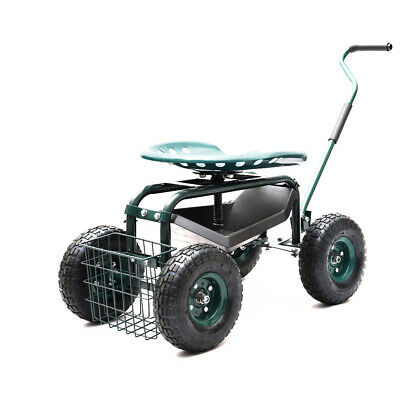 Outdoor Green Rolling Garden Cart with 360-Degree Swivel Seat/Black Tray Yard
