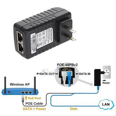 24V 1A POE Injector Power Over Ethernet Adapter for 802.3 af IP Camera Wlan US