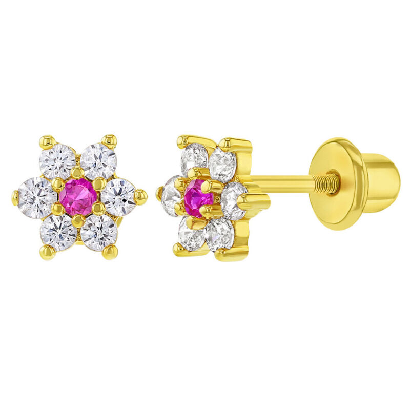 Gold Plated Clear and Pink CZ Flower Screw Back Earrings for Little Girls 5mm