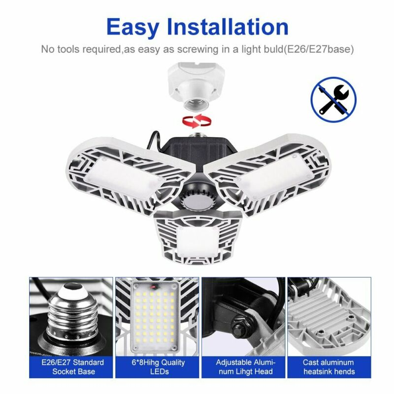 60W E27 Deformable LED Garage light 8000LM Panels Ceiling Lights High Bay Lamp