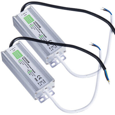 2pcs 50 Watt Waterproof Led Power Supply Driver Transformer To 12 Volt Dc Output