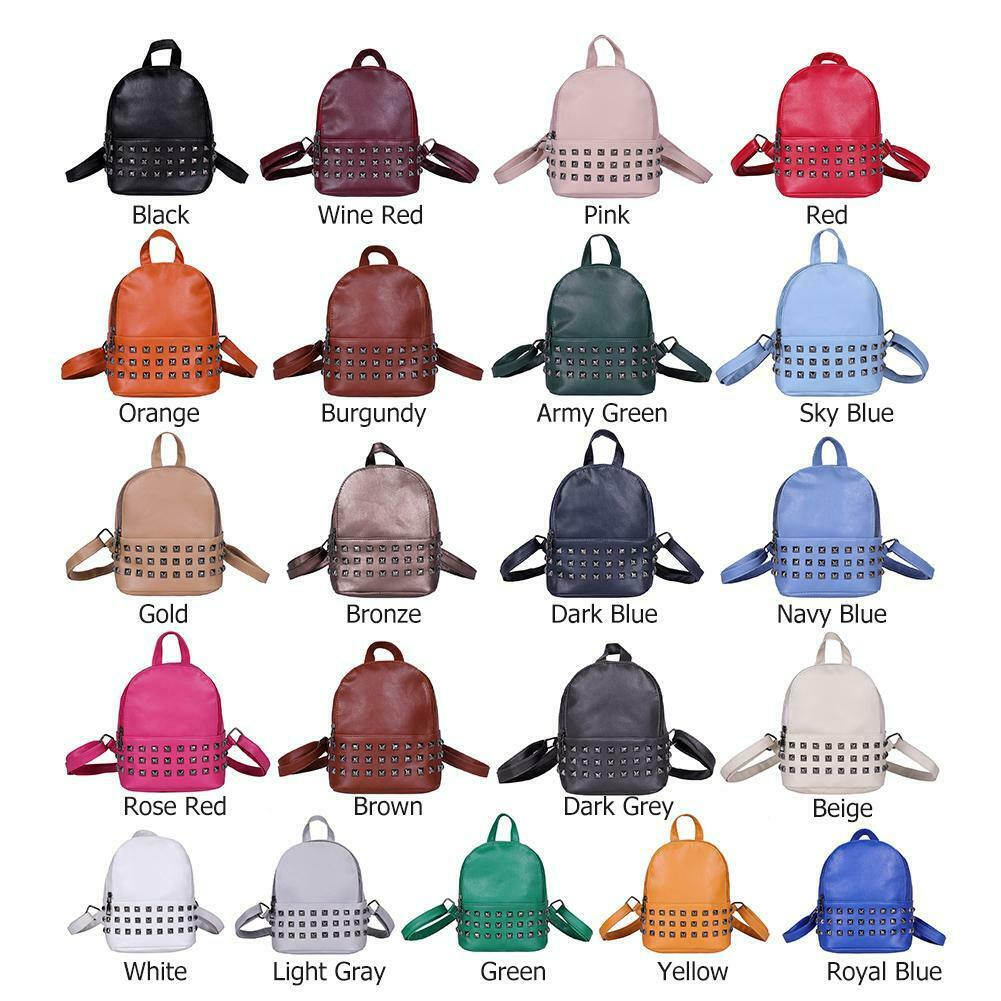 Fashion Rivet Backpack Women PU Leather Casual Girls Shoulde