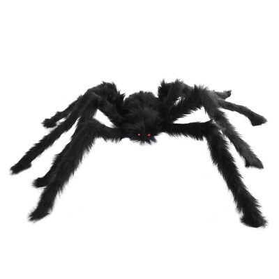 Large Hairy Poseable Black Spider ~ HALLOWEEN INDOOR OUTDOOR SPIDER DECORATION  - Large Outdoor Halloween Spiders