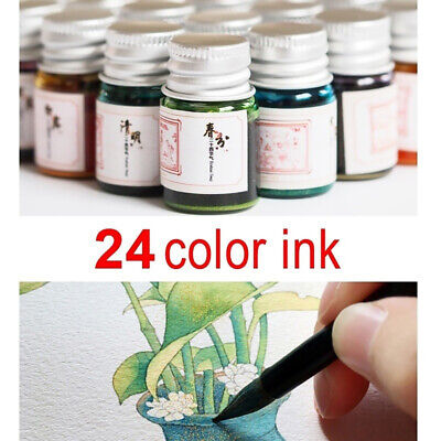 24 Color Ink For Fountain Dip Pen Calligraphy Writing Painting Graffiti Chic (Dip-pen)