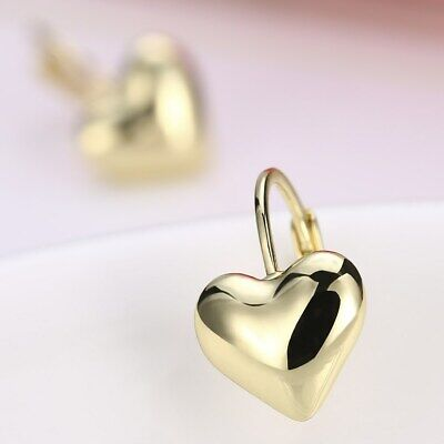 Womens 18k Gold Filled Elegant Love Heart Stud Vogue LeverBack Earrings #E326
