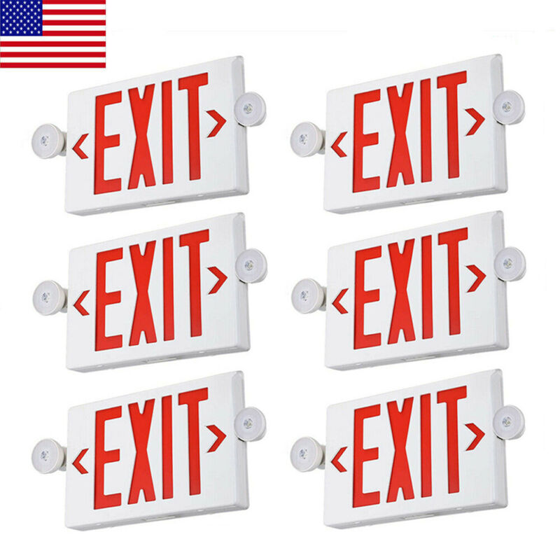 6PCS Red LED Exit Sign,UL-Listed Emergency Light -Dual Lamp ABS Fire Resistance