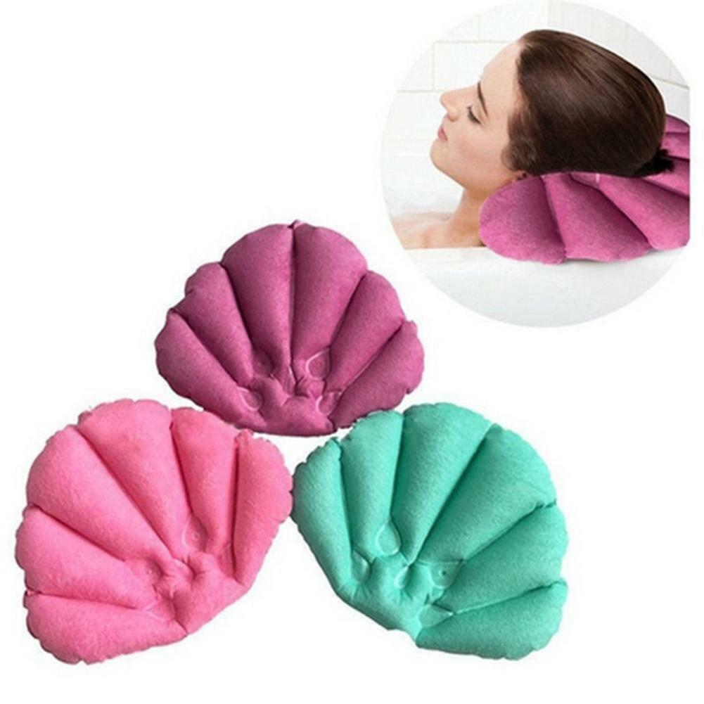 Inflatable Terry Cloth Bath Pillow With Suction Cups Neck Su