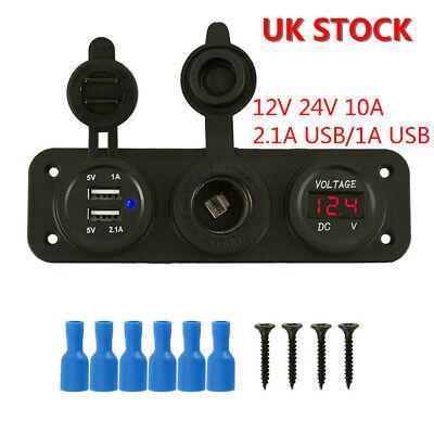 12v 10A Dual USB Socket Charger Cigarette Voltmeter Camper van Motorhome Caravan