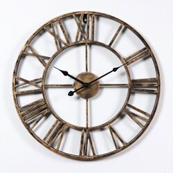 20 inch Dia Large Round Rustic Metal Skeleton Roman Numeral Indoor Wall Clock