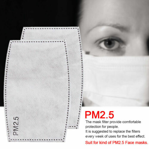 100PCS Replacement PM2.5 Carbon Filter Pad for Adult Face Mouth Cover Mask