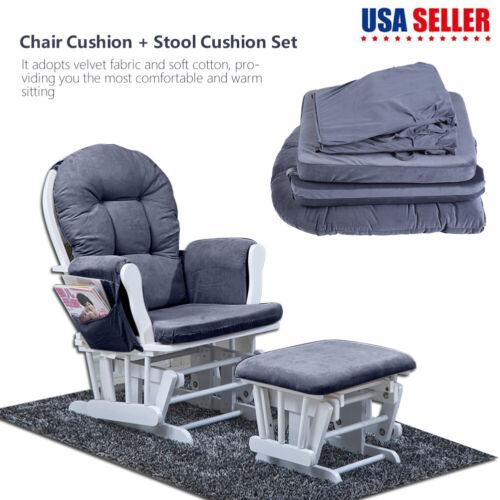 Soft Cotton Chair Cushion & Stool Pad Set for Rocker Rocking