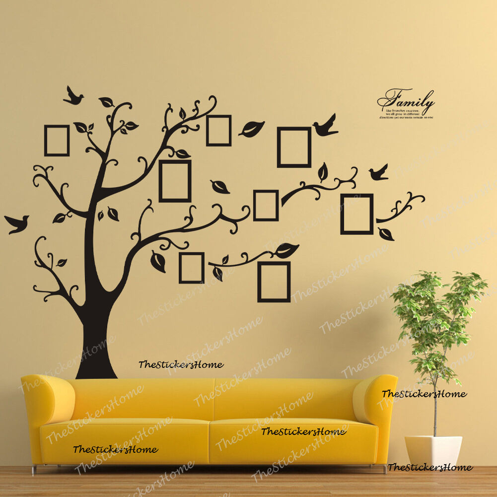 X LARGE FAMILY Tree Birds Photo Frame Quotes Wall Stickers Home Art ...