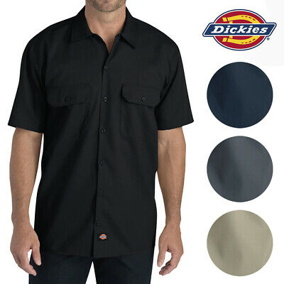 Dickies Men's WS675 Short Sleeve Flex Relaxed Fit Twill Work Shirt Casual Button-Down Shirts
