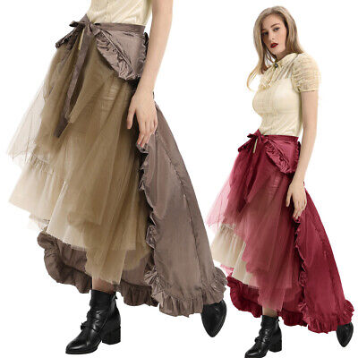 US Women Steampunk Retro Victorian Lolita Punk Ruffled Long Lace-up Open Skirt](Steampunk Clothes For Women)