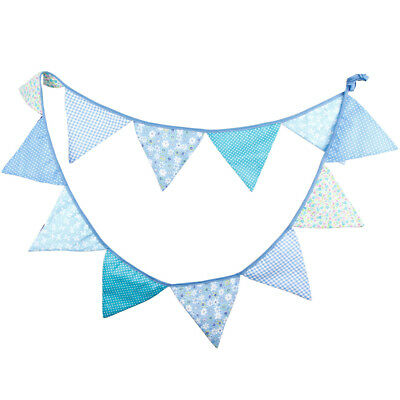 12 Flags 3.2m Blue Cotton Fabric Banners Personality Wedding Bunting Flags](Blue Bunting Fabric)