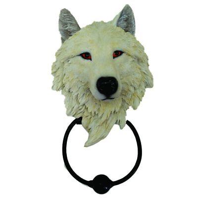 Türklopfer weisser Wolf Wolfs Figur Halloween Dekoration Deko Fantasy NN27