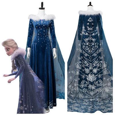 Halloween Costumes With Flannels (Frozen 2 Olaf's Frozen Adventure Elsa Dress with Cloak Cosplay Costume)