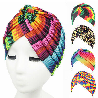 Women Rainbow Color Leopard Muslim Hijab Turban Head Wrap Hat Beanie Cap - Rainbow Beanie