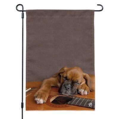 Boxer Puppy Dog Sleeping on Guitar Garden Yard Flag - Boxer Garden Flag