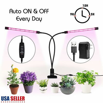 Plant Grow Light Gooseneck Dual Head LED Lamp Hydroponics Indoor Dimmable Timing