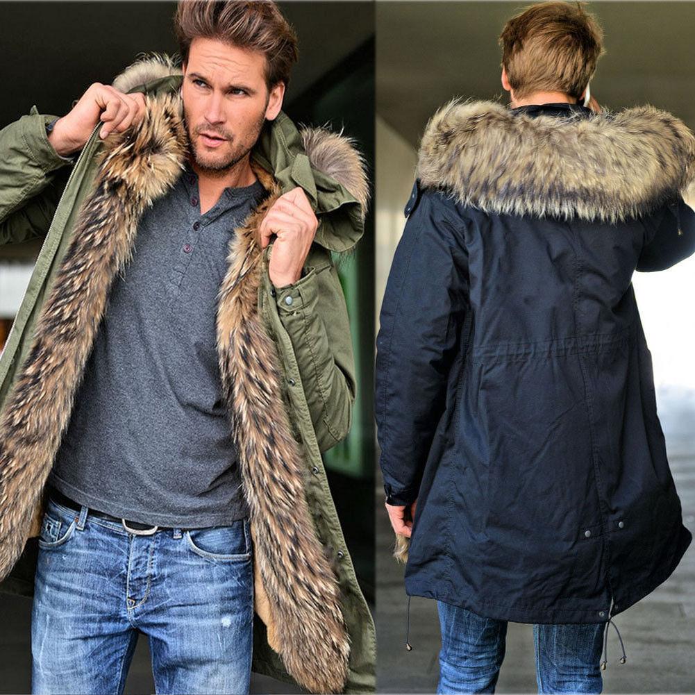 Roiii Men's Winter Warm Thick Faux Fur Slim Trench Coat Long