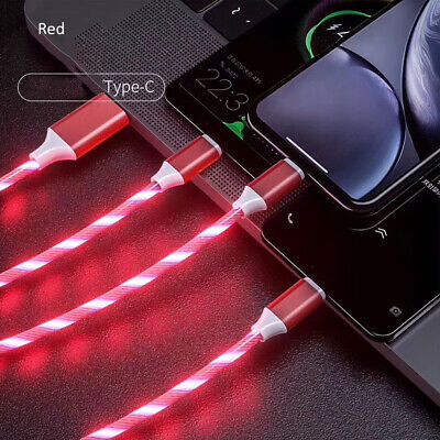 3-in-1 USB to Micro USB Type-C Lighting 2A LED Fast Charging Data...