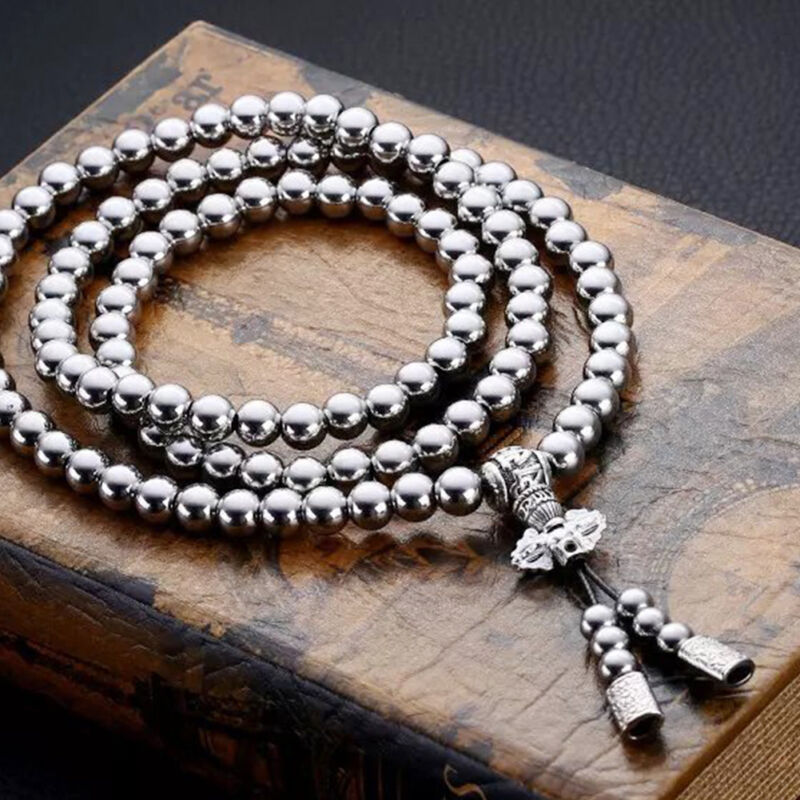 buddhist hematite magnetic prayer shop necklace guru men beads for silverborn mala