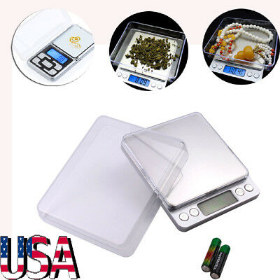 - 500g-2000g/0.1g Electronic Digital Balance Weighing Pocket Jewelry Scale Tool US