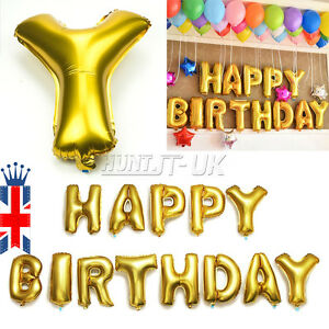Large Gold Self Inflating Happy Birthday Balloon Banner Bunting Party Decoration