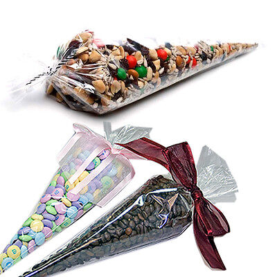 "Cone Bags (Party Bags Cone Shaped Crystal Clear Cello Gift Bags 6""x12"" 100Bags 