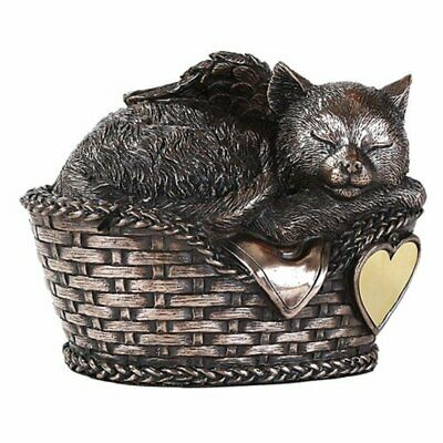 Windhaven Urns Pet Memorial Angel Cat Sleeping in Basket Cremation Urn Bronze...