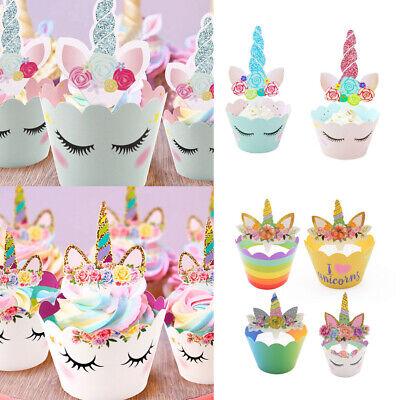 24x Einhorn Mini Cupcake Toppers und Wrappers Kuchen Verpackung für Kinder Party (Kuchen Toppers Kinder)
