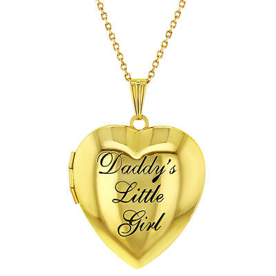 Children's Heart Photo Locket Pendant Necklace Daddy's Little Girl 19
