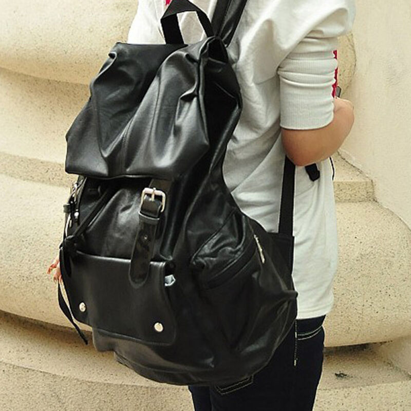 Women Men Extra Large Backpack PU leather Rucksack School Satchel ...