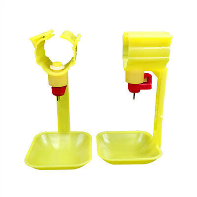 10 Pcs Yellow Automatic Poultry Water Feed Hanging Nipple Drinking Cups Chicken