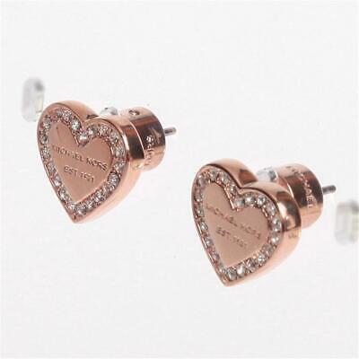 Michael Kors Pave Rose Gold Tone Logo Heart Charm Earrings