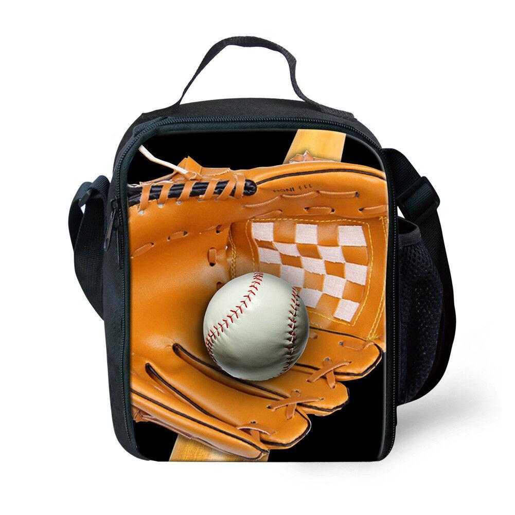 School Lunch Box Container Sport Baseball Print For Kids Gir