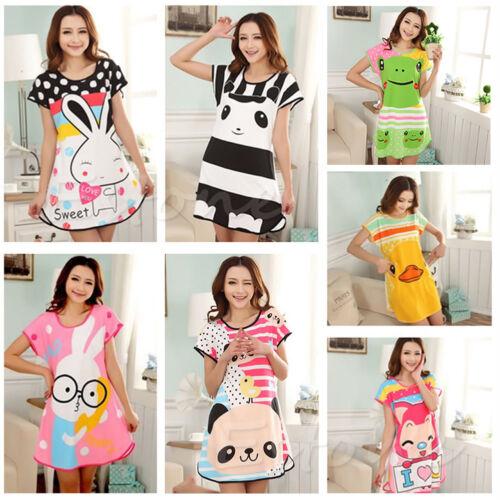 New Women Cartoon Polka Dot Sleepwear Pajamas Short Sleeve Sleepshirt Sleepdress