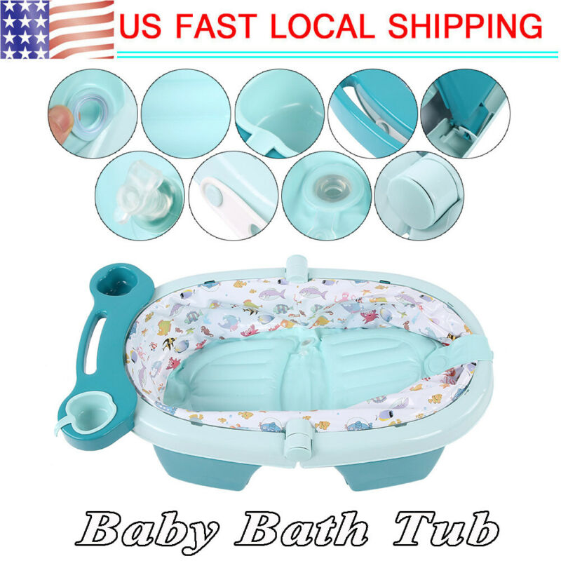 Baby Kids Toddler Portable Inflatable Bathtub Foldable Newborn Thick Bath Tub US