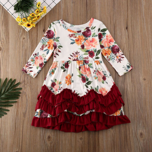 NWT Girls Long Sleeve Floral Ruffle Dress 2T 3T 4T 5T Easter
