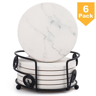 Ceramic Collection 6-Piece Heavy Duty Round Coaster Set Marble Pattern Cork Back Ceramic 6 Coaster